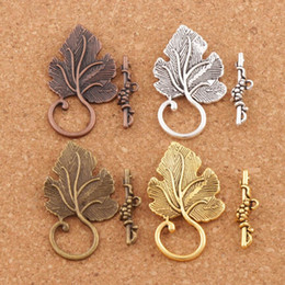Wholesale Bronze Copper Alloy - Grape Leaf Bracelet Toggle Clasps 30sets lot Antique Silver Bronze Copper Jewelry DIY Findings Clasps & Hooks Jewelry DIY L872