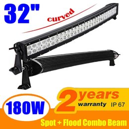 "Wholesale Off Road Roof Light Bar - 180W 32"" Curved Spot Flood Combo Beam LED Light Bar Working Light Roof Front Headlight For Truck Jeep Off-road 4WD Car Boat Driving Light"