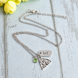 Wholesale Family Christmas Sweaters - 6pcs set BFF Pizza Pendant Necklace For Women Men Family Friends Colorful Crystal Rhinestones Sweater Chain Friendship Jewelry