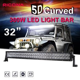Wholesale Led Work Light Spot - 32 Inch 300W curve LED Light Bar For Off Road Trucks Tractor 4WD SUV ATV 4D CREE Chip 12V 24V Waterproof Combo Work Driving Bar