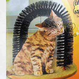 Wholesale Dog Massager - pet Arch Pet Cat Self-Groomer and Massager With Round Fleece Base Cat dog Toy Brush Pets Toys Purrfect Scratching Devices h107