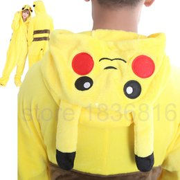 Wholesale Couples Onesie Pajamas - Adult Unisex Couple Women Mens Cosplay Pikachu Costume Pikachu Pajamas Jumpsuit Pikachu Onesie Animal Pajamas One Piece