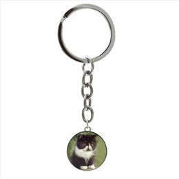 keychain picture NZ - Out of the ordinary Cute art Picture keychain I love cats Glass Cabochon ring jewelry key cahin for children and kids NS430