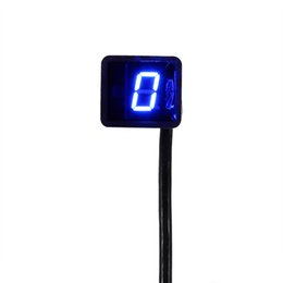 Wholesale Digital Universal Gear - Motorcycle LED Digital Gear Indicator Motorcycle Display Shift Lever Sensor Universal Blue