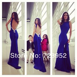 Wholesale Prom Dress Form - 2017 Sexy Backless Mermaid Prom Dresses Open Back Royal Blue Chiffon Sheath Fitted Form fitting Long Train Formal Prom Gowns