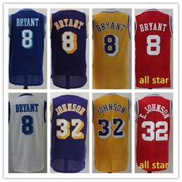 Wholesale Mixed Basketball Jersey - Men's #32 Earvin Johnson #8 Bryant Yellow Red Purple White Throwback all star Replica Basketball Jerseys Free Drop Shipping Mix Order