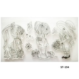 Wholesale Sheets For Girls - Wholesale- Three Cute Little Girls Transparent Clear Silicone Stamp seal for DIY Scrapbooking photo Album Decorative Clear Stamp Sheets.