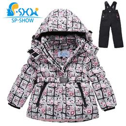 Wholesale Children Ski Suit - Wholesale- SP-SHOW 2016 New Winter children Girls Coat 3-7Age Kids Ski Suit Thick Warm fleece Two-Piece Girls Winter Jacket Down+Trousers