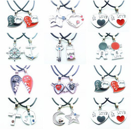 Wholesale Lock Key Love Heart Necklace - Brand new Valentine 's Day gift key lock couple necklace student couple jewelry WFN037 (with chain) mix order 20 1set=2 pieces