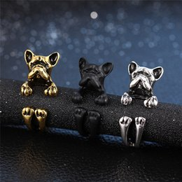 Wholesale Dog Ring Fashion - 2017 Fashion Vintage Charm Beautiful Cute Animal Dog Rings Silver gold Plated For Women Punk open Ring Statement Jewelry Wholesale