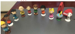 Wholesale peanuts doll - 12pcs set Peanuts Charlie Brown Woodstock Franklin Lucy Linus Dolls PVC Action Figures Anime Figurines Kids Toys For Boys Girls