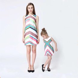 Wholesale Spring Girls Vintage - Everweekend Girls Vintage Stripes Party Dress Candy Color Sweet Baby Children Classic Dress Western Holiday Dresses