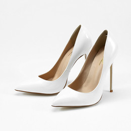 2019 tacchi alti bianchi Donna Scarpe Donna Bianco Estrema Tacchi alti per le donne Pompe Abito da sposa a spillo da sera formale Scarpe da ballo Club tacchi alti bianchi economici