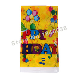 Wholesale Plastic Tablecover - Wholesale-1pcs Lovely 220*132cm disposable Birthday tablecloths Balloon Party kids happy birthday party plastic tablecover supplies