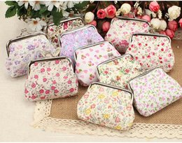 Wholesale Vintage Flower Wallet - Vintage flower coin purse canvas key holder wallet hasp small gifts bag clutch handbag 12pcs lot free shipping