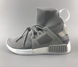 Wholesale High Boots For Womens - Discount Cheap New NMD XR1 Running Shoes for Men and Womens NMD High Top Sneakers Grey Color Knitting Boots Size US5-11 Drop Shipping