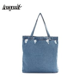 Wholesale Trend Girls Bag - Wholesale-Women Canvas Single Shoulder Bag Washed Denim Casual Girl Uncovered Open Shopping Travel School Handbag Punk Style Trend Fabric