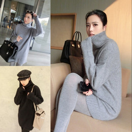 Wholesale Ladies Cashmere Pullover - Wholesale-women turtleneck pullover cashmere sweater long loose sweater solid color knitted basic wool sweater lady plus size 2016 winter