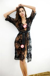 Wholesale Half Transparent Sleeve Dresses - Transparent Lace Kimono Sexy Nighty Dress Intimate Sleepwear Robe Night Gown Woman Baby Doll Sexy Lingerie Pajamas Nightgown