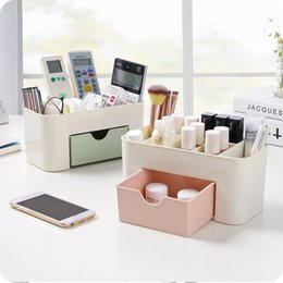 Wholesale Organizer Plastic Storage Drawers - New European transparent plastic makeup organizer storage box multipurpose candy color office sundries cosmetic drawer container