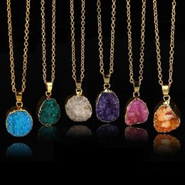 Wholesale druzy slice pendant gold - Wholesale Quartz Crystal gold plated blue agate sliced Irregular Natural stone necklace amp pendants chain necklace Druzy Jewelry