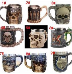 Wholesale Dragon Bottle - 3D Striking Skull Warrior Tankard Viking Skull Beer Mug 3D Skull Dragon Coffee Tea Bottle Mug Stainless Steel Cup 9 design