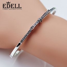 Wholesale 925 Sterling Silver Bracelet Bow - EDELL Fine jewelry 925 Sterling Silver Bangle with Women Wedding & Party Clear CZ Fashion Bow Tie Diamond Pandora Bracelet Fit love 8016