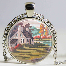 Wholesale Halloween Shabby - House Necklace Painting Jewelry Shabby Chic Jewelry Glowing Necklace Pendant Christmas Gift for Women for Men