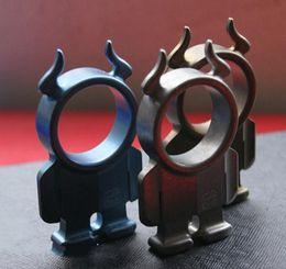Wholesale Titanium Rings Blue Stones - Titanium TC4 EDC Lovely Minotaur Goblin Single Finger Knuckle Duster Key Accessory 70*39*12mm Stone washed Anodiezed Blue Gold Surface