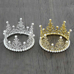 Wholesale Baby Birthday Crowns - Children birthday Party Crown Hair Clip Gold silver diamond pearl Crown Headwear Baby Girl Hair Accessory Tiaras kids Hair Accessories A569
