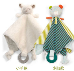 Wholesale Dog Towel Toy - Wholesale- candice guo! newest arrival baby toy super soft calm wipes placate towel baby rattle teether sheep dog birthday gift 1pc