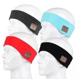 Wholesale Wholesale Plain Black Headbands - 4 Colors Outdoor Sports Wireless Bluetooth Headband Earphone Stereo Magic Music Hat Headband Smart Electronics Hat for iPhone CCA7321 50pcs