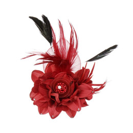 Spille di nozze per i capelli online-All'ingrosso- AOJUN New Flower Feather Spilla Accessori per capelli Wedding Corpetto Grandi spille per le donne Gioielli spille Moda Rooch 2XZ02