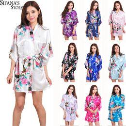 Wholesale Clear Dresses - Hot Sale Silk Satin Wedding Bride Bridesmaid Robe Short Kimono Night Robe Floral Bathrobe Peignoir Femme Fashion Dressing Gown For Women