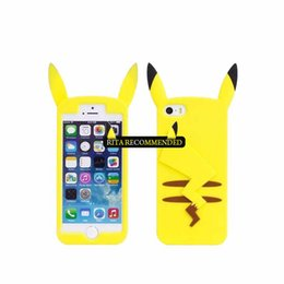 Wholesale Iphone Cases Pikachu - Cute 3D Cartoon Pocket Monsters Pika Soft Silicone Case For iPhone 7 6 6S Plus 5 5S SE 4 4S Pikachu Rubber Cover Phone Cases