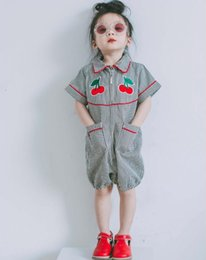 Wholesale super cute girl baby - 2017 hot styles New Arrivals baby kids Super cute cherry embroidery romper boy and girl romper 2-6T