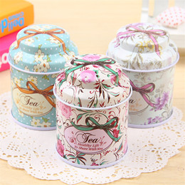 Wholesale Small Jewelry Boxes Wholesale - Tin Box Tea Case European Style Tea Caddy Candy Jewelry Pill Small Things Storage Box Organizer Many Colors Food Container 6pcs lot