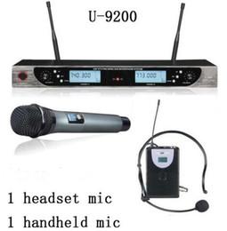 Wholesale Audio Wireless Microphone - Superior quality U-9200 Audio 2x100 Kanal UHF Wireless Microfone 1 headset mic 1 handheld mic Professional Wireless Microphone Free freight