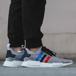 Wholesale Womens Red Glitter Flats - 2017 high quality NMD Runner R1 Primeknit PK Tri-Color Red white blue GREY Men Womens Running Shoes Classic sports Sneaker Shoes eur 36-44