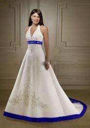 Halter col en V robes de mariée Vintage lacets dos broderie corsage robe de mariage robes de mariée balayage train satin une robe de ligne ? partir de fabricateur