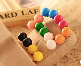 Moda Candy Color Lovely QQ Bead Earrings Sweet Stud Pendiente Mujeres NUEVO 100 par / lote libera hipping desde fabricantes