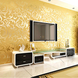 Wholesale Silver Wallpaper For Living Room - Wholesale-High-End 10M Luxury Embossed Patten Textured PVC Wallpaper Wall Paper Roll For Living Room Bedroom TV Gold Silver