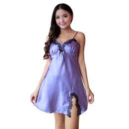 Wholesale Ladies Satin Nightgowns - Wholesale- Ladies Sexy Silk Satin Night Dress Sleeveless Nighties V-neck Nightgown Plus Size Nightdress Lace Sleepwear NightwearDH