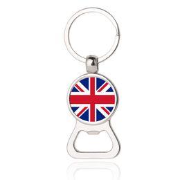 Wholesale Fashion Ireland - Beer Bottle Opener UK Ireland Keyrings Flag Glass Cabochon Car Key Chains EDC Men Fashion Jewelry Gifts Wholesale Drop Shipping