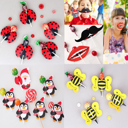 Wholesale Wedding Mustache - 2017 New 50Pcs lot Lips Mustache Bee Ladybug Kids Lollipop Paper Decorative Card Candy Stick Wedding Birthday Party Favors Gift