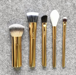 Wholesale Brand Makeup Sets - Brand Tarte makeup brushes 5 pcs set Golden Christmas Edition brush blending powder foundation eyes conceal contour make up brush.