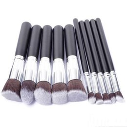 Wholesale Plastic Rod Stock - Hot 2017 makeup kabuki brushes tools 10pcs set small rod mouth pipe and wooden handle facial brush cosmetic tool in stock DHL free shipping