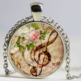 Wholesale Musical Tin - Music note jewelry treble clef pendant silver chain necklace musical notes gifts for concert glass dome flower pendant women