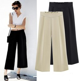 Wholesale Wide Leg Pants Culottes - Chiffon Wide Leg Pants Women Casual Loose Hight Waist Plus Size Ankle Length Trousers Female Culottes For Office Wear Ladies