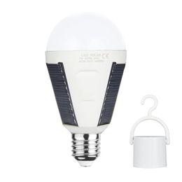 Wholesale Led Lights Daylight Bulbs - E27 7W Solar Lamp 85-265V Energy Saving Light LED Intelligent Lamp Rechargeable Solar Emergency Bulb Daylight for Hiking Camping Tent